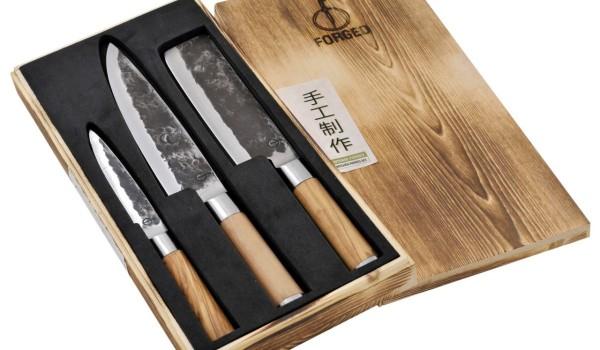 Olive Forged Set 3-teilig: Universalmesser, Kochmesser, Hackbeil