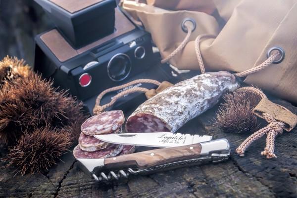 Taschenmesser Olivenholz mit Korkenzieher